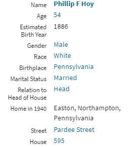 Philip Frances Hoy 1940 Census