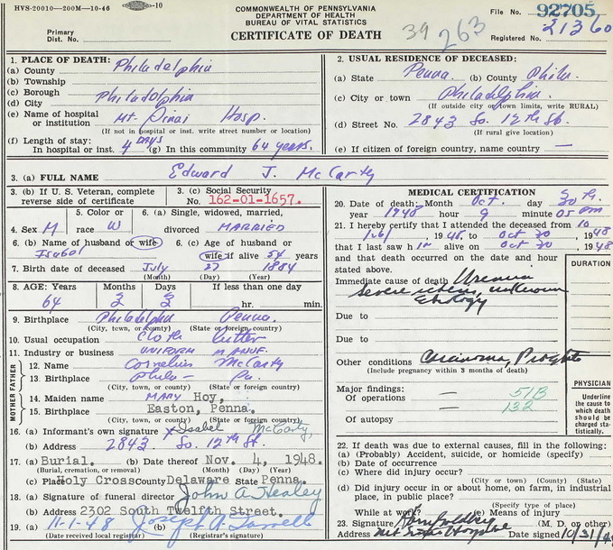 Edward McCarty's Death Certificate