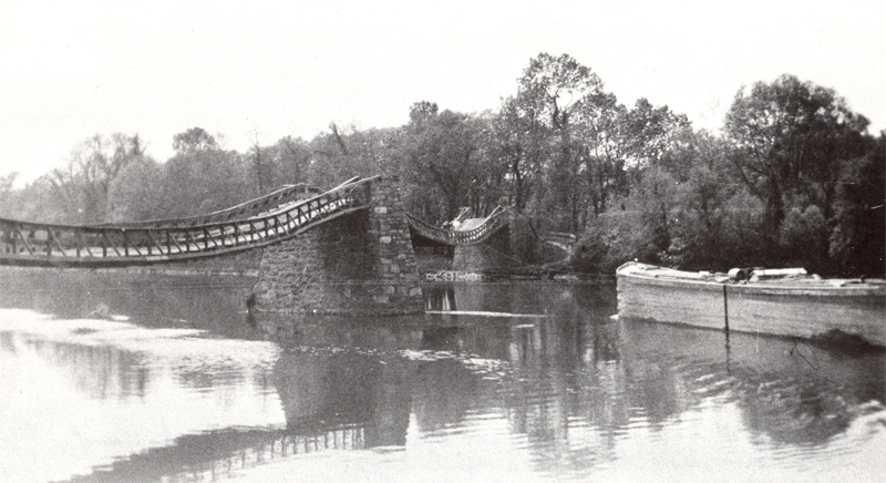 Change bridge west of Dam 8 in Glendon. Note mules crossing and towline connected to canal boat