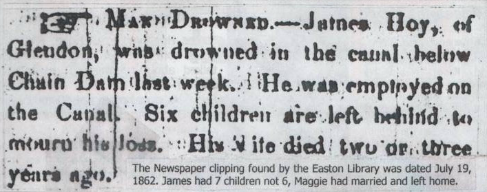 Newspaper clipping noting the death by drowning of of James Hoy