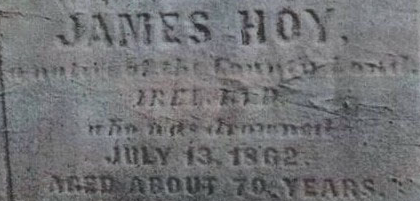 Part of the gravestone of James Hoy in Saint Bernard's Old cemetery, Easton, Pennsylvania.