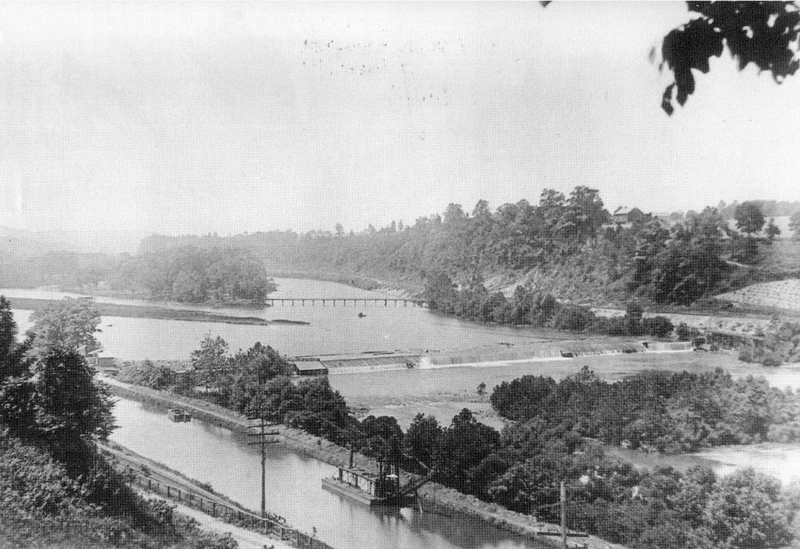 This photograph shows the original dam #8 which spanned the Lehigh River