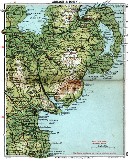 Map showing the relationship of Down, Louth and Armagh